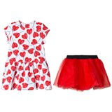 Catimini Red Heart Lollipop Print Long Sleeve Dress and Tulle Underskirt