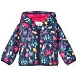 Catimini Navy Floral and Tropical Bird Print Quilted Padded Coat