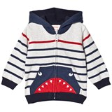 Catimini Grey and Navy Stripe Shark Hoodie