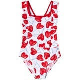 Catimini White Heart Lollipop Ruffle Swimsuit