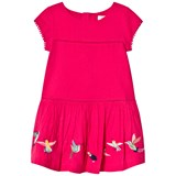 Catimini Pink Dobby Dress with Embroidered Birds