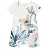 Catimini White and Green Koala and Bird Print Romper