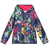 Catimini Navy Floral Print and Toucan Quilted Padded Coat