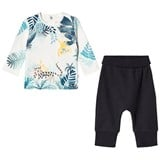 Catimini White Jungle Animal Print Tee and Jersey Trouser Set