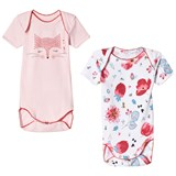 Catimini Pack of 2 Pink Cat and Poppies Print Bodies