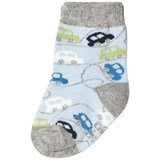 Melton Light Blue Cars Baby Socks