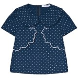 Vivetta Navy Embroidered Spotty Two Face Layered Top with Frill Collar