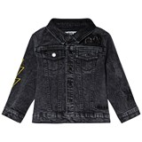 The BRAND Grey Stone Wash Distressed Fringe Denim Jacket