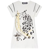 Relish Cream Leopard Graphic Print and Embellished Tee Dress