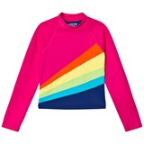 Lands' End Pink Long Sleeve Colour Block UPF50 Rashguard with Rainbow
