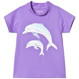 Lands' End Purple Short Sleeve Dolphin Graphic UPF50 Rashguard