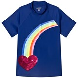 Lands' End Purple Short Sleeve Rainbow Heart Graphic UPF50 Rashguard