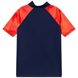 Lands' End Navy and Red Active Rashguard with Short Sleeves