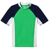 Lands' End Green, White and Navy Colour Block Short Sleeve Rashguard