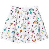 Lands' End White Multi Coloured Fun Doodle Print Twirl Skort