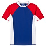 Lands' End Navy, White and Red Colour Block Short Sleeve Rashguard