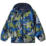 Lands' End Navy And Green Camo Print Waterproof Jacket