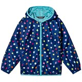 Lands' End Navy Multi Coloured Spots Waterproof Jacket