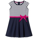 Lands' End Navy Pink Ribbon Striped Short Sleeve Ponte Dress