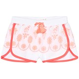 Billieblush White and Pink Embroidered Cotton Shorts