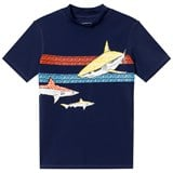 Lands' End Navy Multi Shark and Stripe Graphic Rashguard