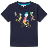 Little Marc Jacobs Navy Mr Marc and Bike Friends Print T-Shirt