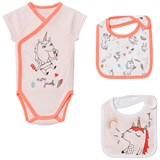 Little Marc Jacobs Pink Unicorn Print Body and 2 Bibs in Gift Box