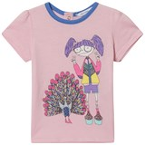 Little Marc Jacobs Pink Miss Marc and Peacock Print Tee