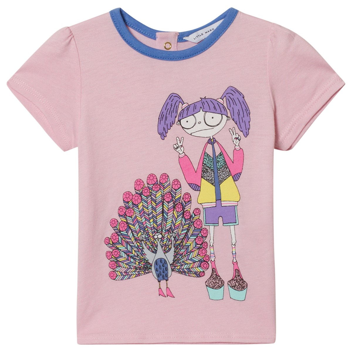 bc804b16425 Little Marc Jacobs Pink Miss Marc and Peacock Print T-Shirt ...