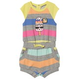 Little Marc Jacobs Grey Marl and Rainbow Stripe Lolly Print Playsuit