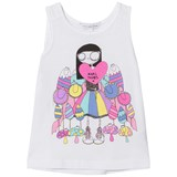Little Marc Jacobs White Miss Marc and Sweeties Print Vest Top