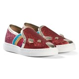 Little Marc Jacobs Red Glitter Mouse Slip On Trainers
