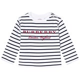 Burberry Navy and White Mini Peggy Stripe T-Shirt
