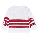 Burberry White and Red Stripes Mini Herbie Angled Seam T-Shirt