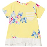 Joules Yellow Floral Woven Trim Jersey Pocket Tee