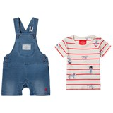 Joules Blue Jersey Denim Dungaree and Stripe Tee Set