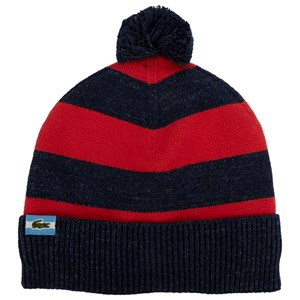 09e04c8d Lacoste Knitted Navy and Red Bobble Hat | AlexandAlexa