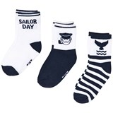 Mayoral Pack of Three White and Navy Sailor Print Socks