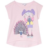 Little Marc Jacobs Pink Miss Marc and Peacock Print T-Shirt