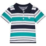 Timberland Kids Green and Navy Stripe Logo Polo