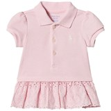 Ralph Lauren Pink Pique Polo Dress with Eyelet Detail