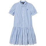 Ralph Lauren Blue and White Bengal Stripe Dress with Eyelet Hem