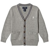 Ralph Lauren Grey and Navy Cotton Cardigan with Small Pony