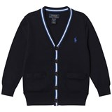 Ralph Lauren Navy and Grey Cotton Cardigan with Small Pony
