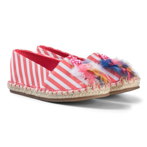 Billieblush Pink Stripe Feather Detail Espadrilles