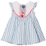 Billieblush Blue Stripe Dress with Bib and Pom-Pom Detail