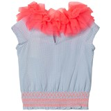 Billieblush Blue Stripe Smocked Ruffle Neck Top