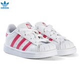 adidas Originals White and Shiny Pink Infants Superstar Trainers