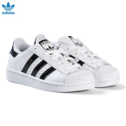 adidas Originals White and Shiny Black Kids Superstar Trainers