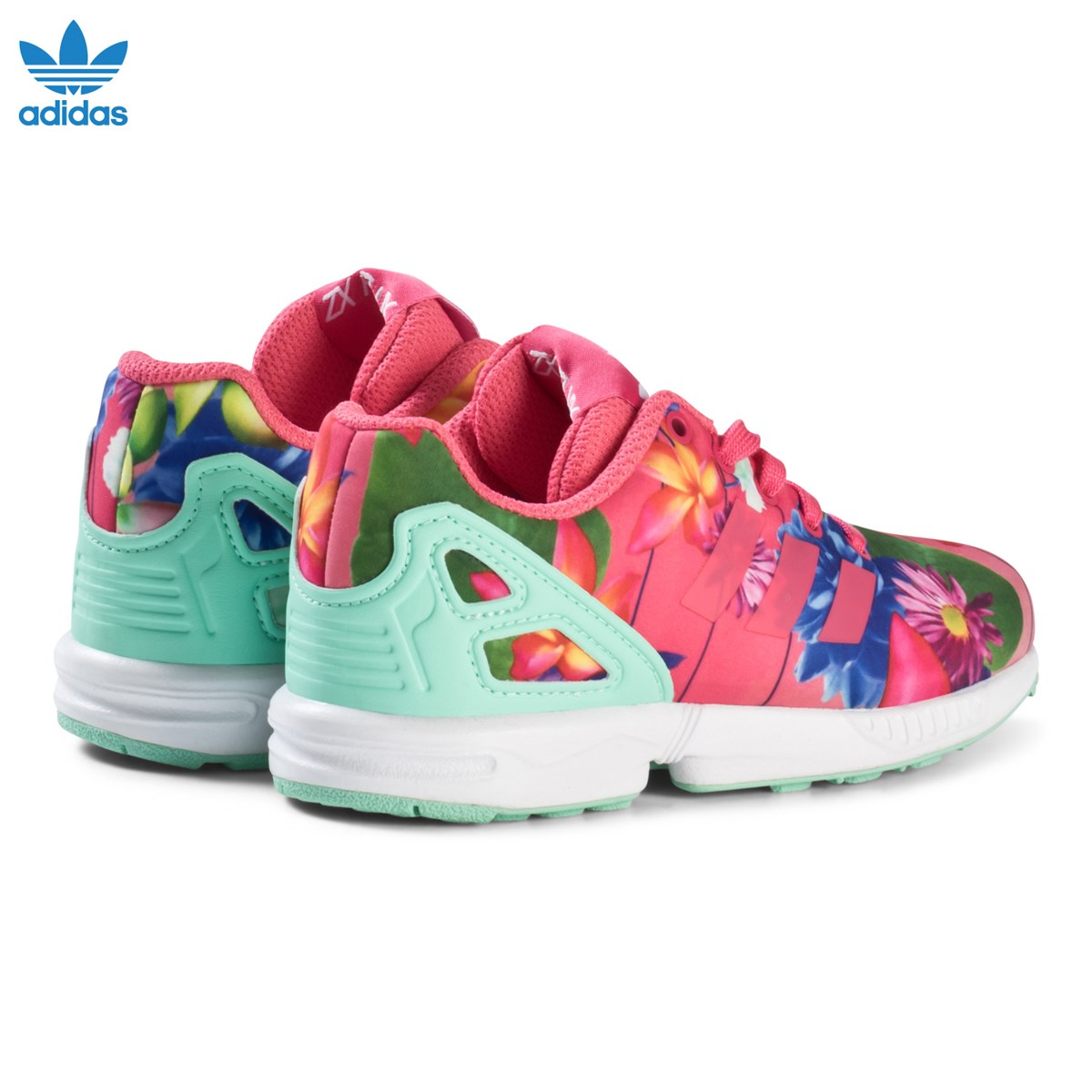 2213fdedb adidas Originals Pink Flower ZX Flux Kids Trainers